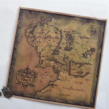 The movie Middle Earth maps retro Map Poster decorative vintage painting bar pub cafe wall sticker art crafts paint