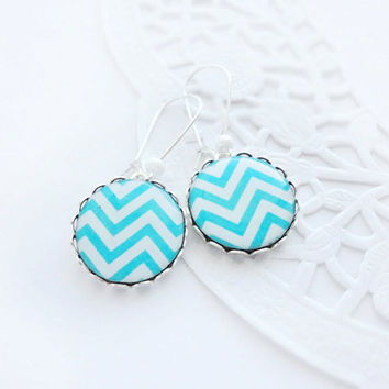 Blue chevron earrings by CitrusCat on Etsy