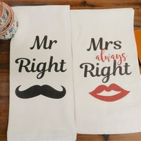 Wedding Bride Tea Towels Mr and Mrs Right Kitchen Flour Sack Tea Towel Gift