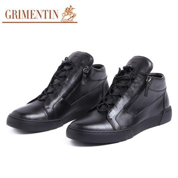 GRIMENTIN FASHION MOTORCYCLE BOOTS GENUINE LEATHER SOLID LACE-UP WINTER MEN'S BOOTS
