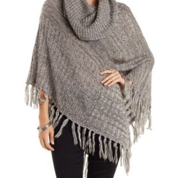 Taupe Cowl Neck Marled Poncho Sweater by Charlotte Russe