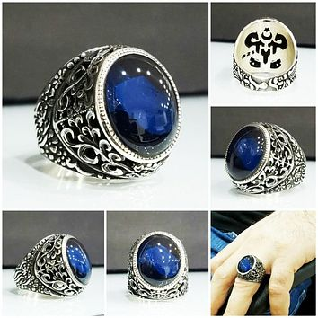 Mens blue turquoise amber gemstone silver ring