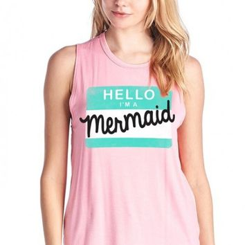 Graphic Muscle Tank - Mermaid Anonymous Muscle Tank in Pink