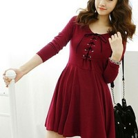 Kawaii Lolita Front Lace Up Round Collar Long Sleeve Dress - Grey or Red from Tobi's Finds