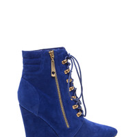 Lace 'Em Up Pointy Wedge Booties