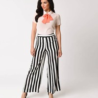 1970s Style Black & White Stripe Wide Leg Palazzo Pants