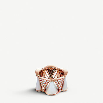 BVLGARI Divas' Dream 18kt pink-gold, mother-of-pearl and diamond ring