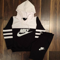 "Cool Womens ""NIKE"" Print Hoodie Top Sweater Pants Sweatpants Set Two-Piece Sportswear"