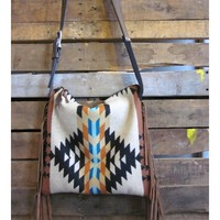 Tan and Teal Native Print Wool Purse with Leathe Fringe