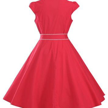Casual Turn Down Collar Contrast Trim Cotton Skater Dress
