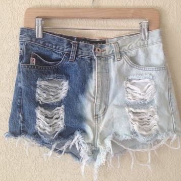 Customized Shredded Two Toned High Waisted Denim Shorts