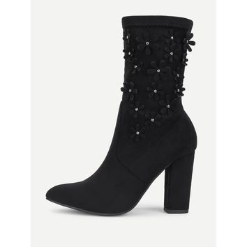 Black Point Toe Mid Calf Block Heel Boots