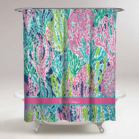 "New Lilly Pulitzer Ocean Coral Pattern Roses Custom Shower Curtain 60"" x 72"""