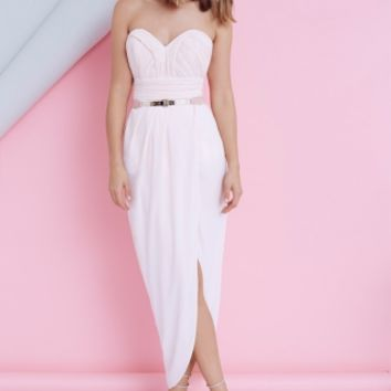 HEARTBREAKER MAXI DRESS - strapless sweetheart maxi dress in blush