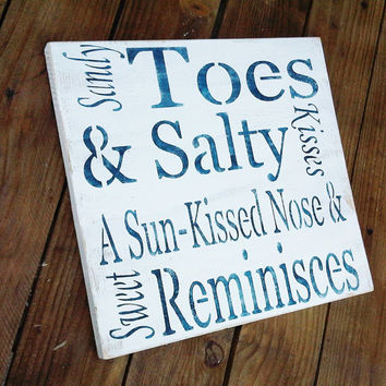 "Beach Wedding Signs, Beach House Decor ""Sandy Toes & Salty Kisses, a Sun-kissed Nose and Sweet Reminisces"" typography word art"