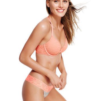 Floral Lace Trim Thong - PINK - Victoria's Secret