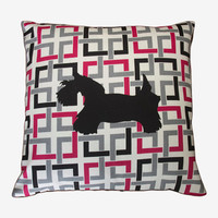 "Geometric Pillow cover, Dog pillow - Red pillow cover - Decorative pillow cover 18x18"" - Throw pillow cover - Contemporary pillow"