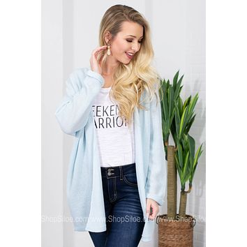 Simply Knit Loose Cardigan | Light Blue