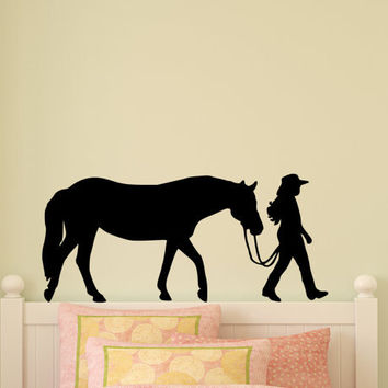 Horse Decal Pony Horse Wall Sticker Horse Rider Western Teen Girls Bedroom Decor Childs Room Baby Nursery Wall Design Barn Stable Mustang