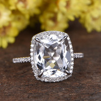 5 Carat Large White Topaz Engagement Ring With Diamond 14k White Gold Cushion Halo Stacking Band
