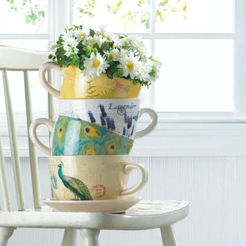 Flower Planters-Enchanting Teacup and Plate | 4 Designs