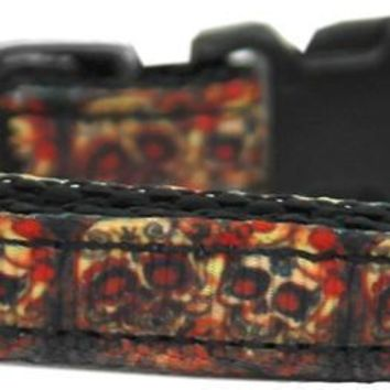 Skull Crossed Lovers Nylon Ribbon Dog Collar Xs