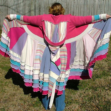 Upcycled Sweater Coat Gypsy Faerie Fairy Elven Fantasy Patchwork Ready to Ship