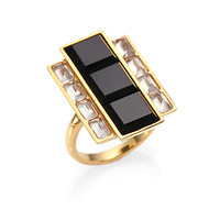 Kelly Wearstler - Rexford Onyx & Crystal Baquette Ring