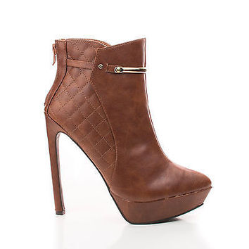 Lavania20 Brown Pu By Wild Diva, Pointy Toe Quilted Platform Stiletto Heel Ankle Bootie