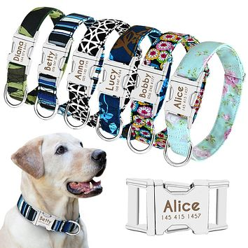 Dog Collar Personalized Nylon Pet Dog Tag Collar Custom Puppy Cat Nameplate ID Collars Adjustable For Medium Large Dogs Engraved