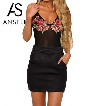 Sexy Floral Embroidery Bodysuit Women Jumpsuit Summer Rompers Sheer Mesh Short Overalls For Women Play suit