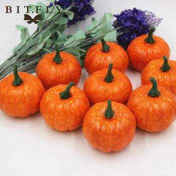 BITFLY 16pcs Mini Artificial Fake Foam Pumpkin For Thanksgiving Fall Halloween Table Vase Filler Centerpiece Wedding Decoration