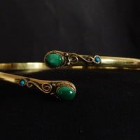 Armlet-Upper Arm Cuff,Brass Green Malachite stone Arm cuff