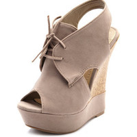 Charlotte Russe - Velvet Oxford Peep-Toe Wedge