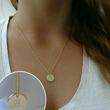 Gold disc necklace, Gold necklace, Disc necklace,Dainty necklace,Initial necklace,layering necklace, Delicate necklace , Monogram necklace