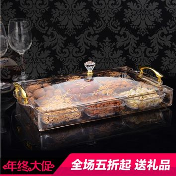 7 set high-grade dried Fruit tray plato de aperitivo dish snack tray Transparent pattern candy dish fruit plate dessert plate