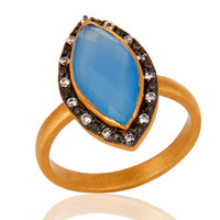 18K Gold Plated 925 Sterling Silver Faceted Aqua Blue Chalcedony Gesmtone Ring