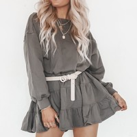 Blushing And Crushing Charcoal Ruffle Dress