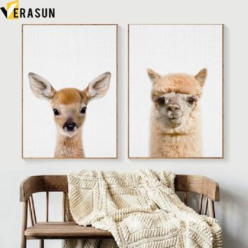 Fawn Deer Llama Animal Nordic Posters And Prints Wall Art Canvas Painting Canvas Art Wall Pictures Living Room Kids Room Decor