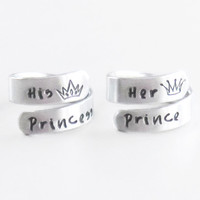 Couple Valentines gifts - Her prince his princess promise rings - Boyfriend girlfriend gifts - handmade prince princess crown tiara rings