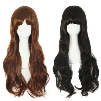 Women's Fashion Wig Curly Wigs With Bangs Long Curly Hair Fluffy Curly Hair 2 color