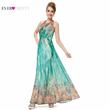 Prom Dresses Ever Pretty HE08258 2017 Floral Printed Dresses Halter Maxi Beach Long Sexy Plus Size Party Prom Dress For Women