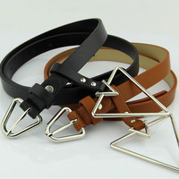 Buy Follow Me Faux-Leather Triangle Buckle Belt | YesStyle