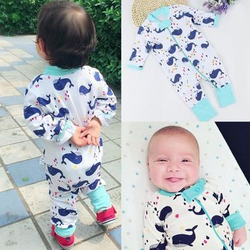 0 to 36 Months Cute Cartoon Whale Newborn Baby Boy Girl Long Sleeve Cotton Jumpsuit Bodysuit Sleepwear Clothes Outfits
