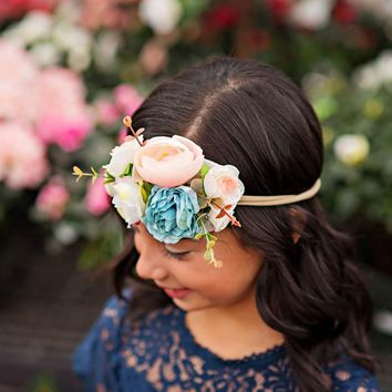 Leah Navy Blue Floral Headband