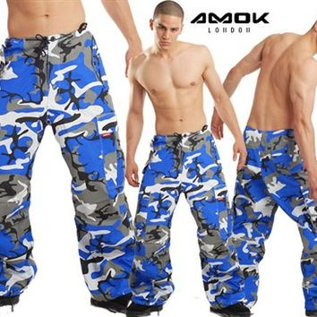 Amok Blue Camo Pants : Windbreaker Neon Rave Pants