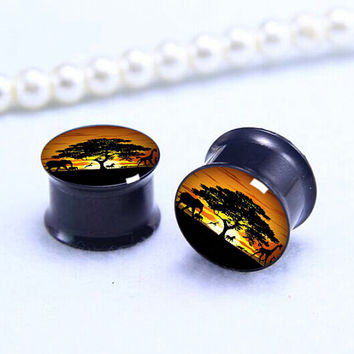 Pairs Sunset animal tree   Plug  ,Double Flare Tunnels Ear Plugs, Black Titanium ear plugs ,0g,00g ,1/2, 9/16, 5/8, 3/4, 7/8,