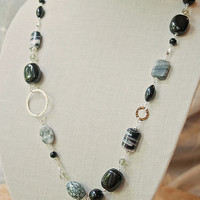 Handmade Black Beaded Long Necklace Lampworked Glass Grey White Silver