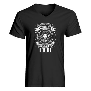 Mens Leo Astrology Zodiac Sign Vneck T-shirt