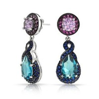Bling Jewelry Simulated Blue Topaz Simulated Amethyst CZ Teardrop Earrings Rhodium Plated
